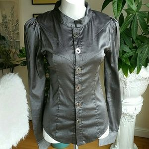 Nuvula silk blouse metallic pin stripped size Smal